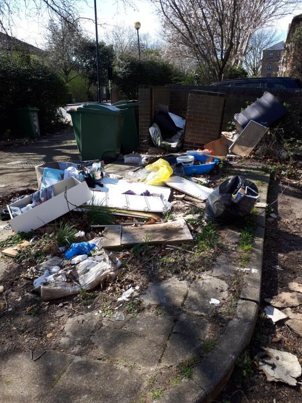 Flytipping at corner of Tollgate Road and Valiant Way and adjacent to properly 195 Tollgate Road E6-194 Tollgate Road, London, E6 5JY