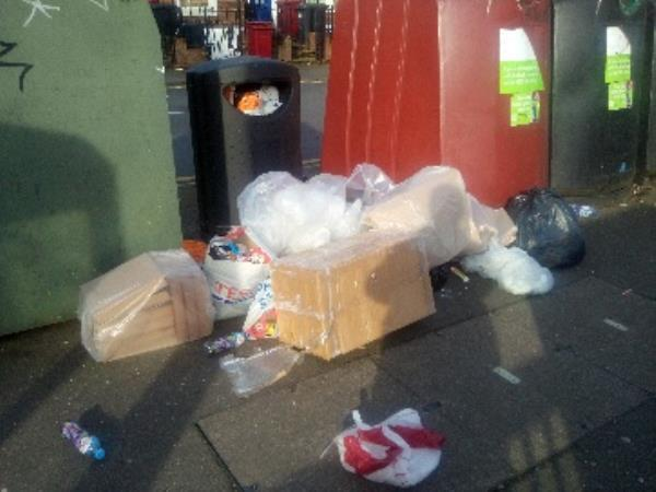 Rubbish dumped by recycling bins-44 Howard Street, Reading, RG1 7XS