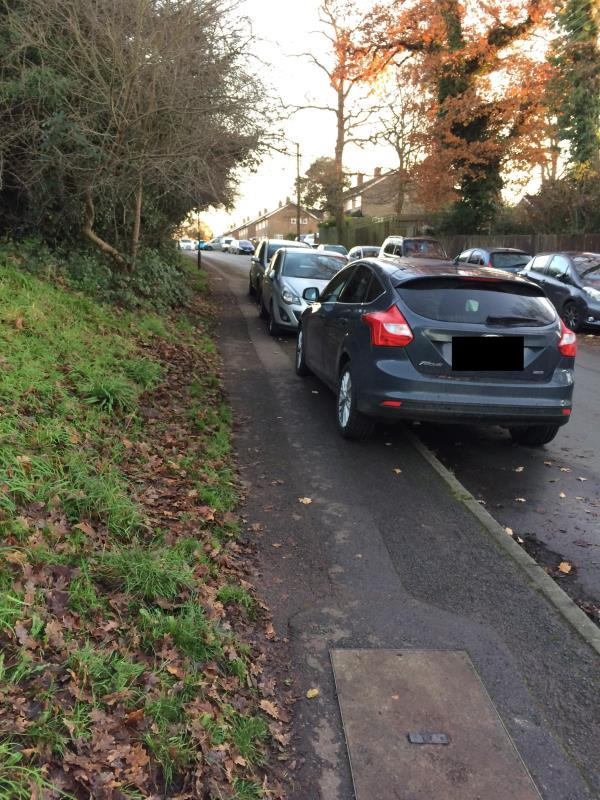 Commuters who use ifield station have started parking on the pavement, blocking access for pushchairs, wheelchairs etc. Cars are left here for 8-10 hours at a time. -19 Craigans, Crawley RH11 8BL, UK