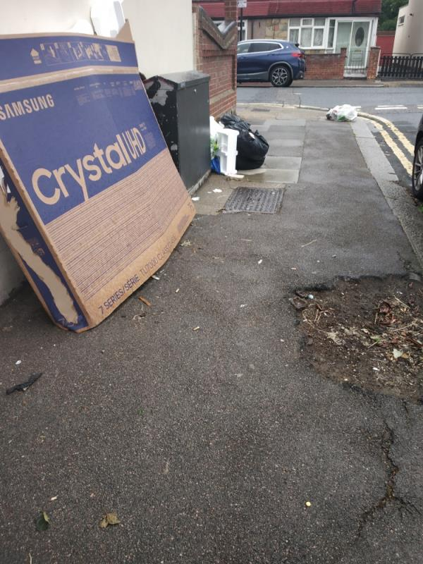 broken chair, TV cardboard, bags and black bags image 1-69 Stokes Road, East Ham, E6 3SF