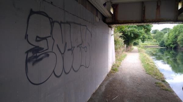 graffiti on canal towpath-Canalside Trumpers Way, London, W7 2LZ