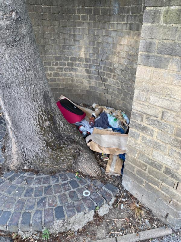 Lots of fly tipping wedges behind the tree -1 Forty Acre Lane, Canning Town, E16 1QL