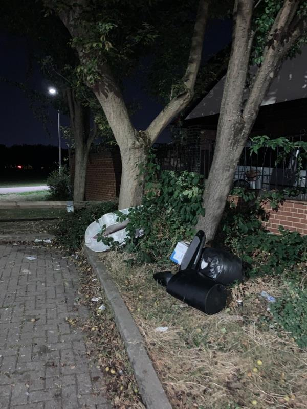 Multiple items fly tipped including a mattress on Andrewes Gardens -41 Andrewes Gardens, London, E6 5TG
