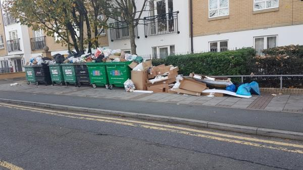 All the nearby bins are full and considerable rubbish is accumulating on the pavement.-Granite Apartments, 39 Windmill Lane, London, E15 1PH