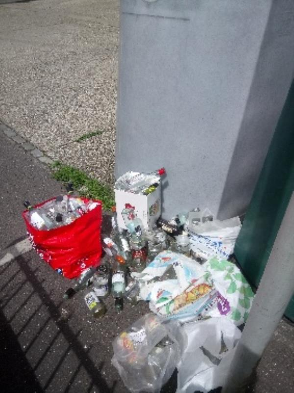 Bottle banks full excess bottles cleared -Bunty Nash Court Coronation Square, Reading, RG30 3QW