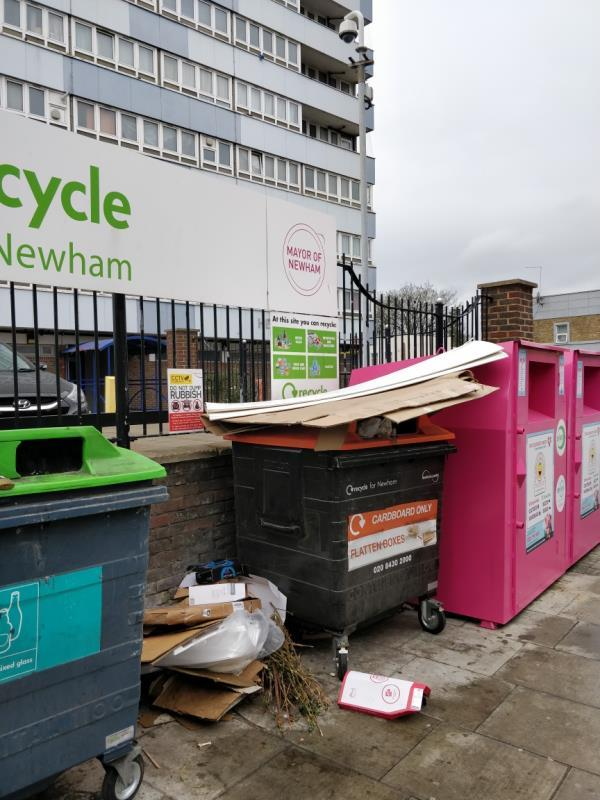 Flytipping on the pavement in front of Henniker Point Leytonstone Road E15-60 Leytonstone Road, London, E15 1JY