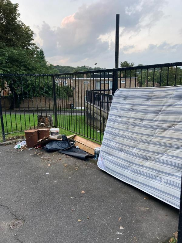 Mattress, paint tins, chemical containers dumped by the convenience store on High Level Drive. Please could you arrange to remove. Many thanks. -1 High Level Drive, London, SE26 6XT