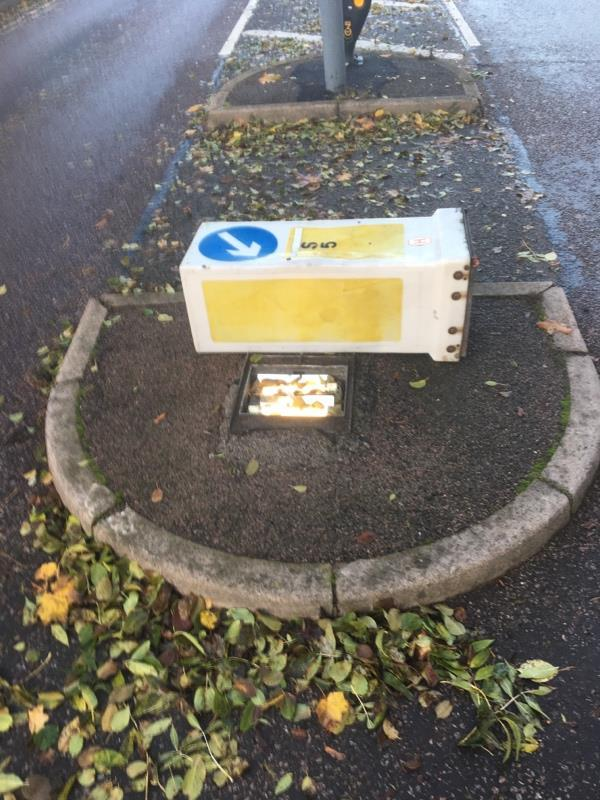 Sign has been knocked over and keeps getting thrown into the road.  Very dangerous. -2 Evington Dr, Leicester LE5 5PB, UK
