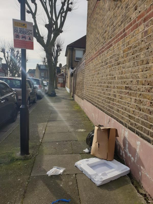 rubbish left in street -51 Pulleyns Avenue, London, E6 3NA