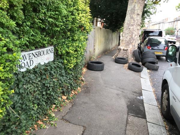 Ravensbourne Rd junction Montem Rd approx 10 tyres -22b Montem Road, London, SE23 1SA