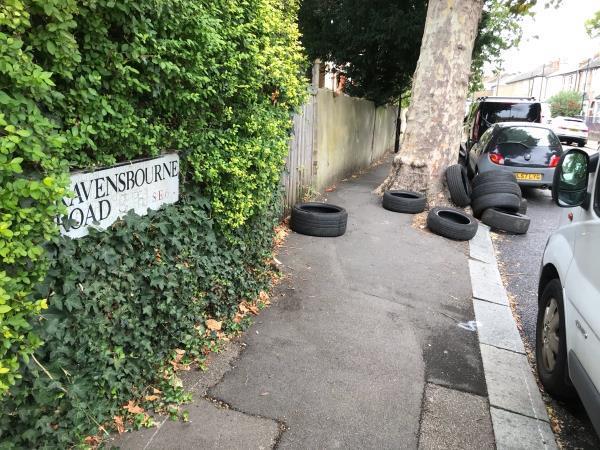 Ravensbourne Rd junction Montem Rd approx 10 tyres -22b Montem Road, London, SE23 1SA