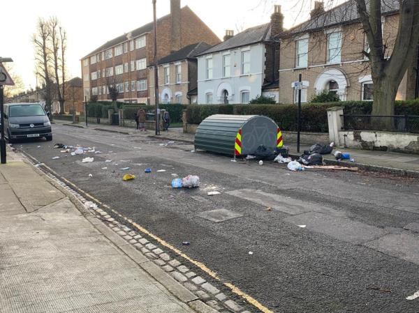 Flying rolling of domestic waste. This was reported 7 hours ago but remains-80 Osborne Road, London, E7 0PH