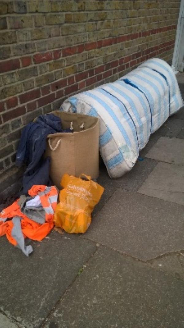 Orwell Rd j/w Selsdon Rd - dbl mattress, divan drawers, x2 bags garden waste, laundry basket clothes, wood panels  image 1-10a Orwell Road, London, E13 9