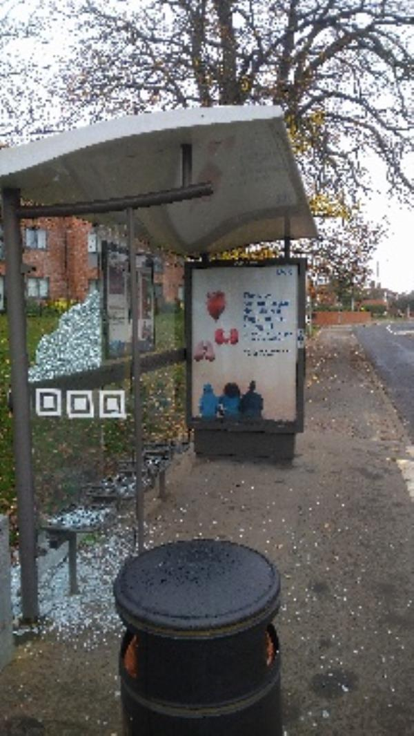 Bus stop smash panel. Oppersite number 69 southcote Lane -42 Presentation Way, Reading, RG30 3FG