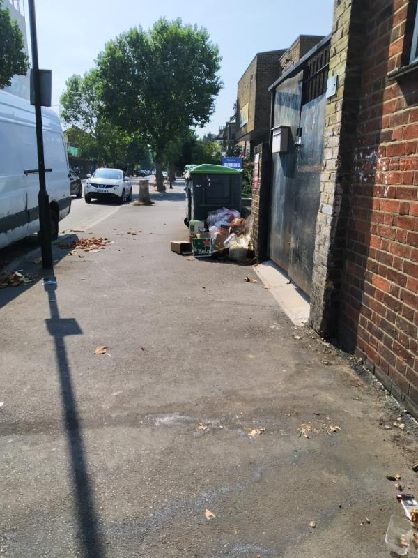 rubbish all over pavement next to bins-138 Earlham Grove, Forest Gate, London E7 9AS, UK