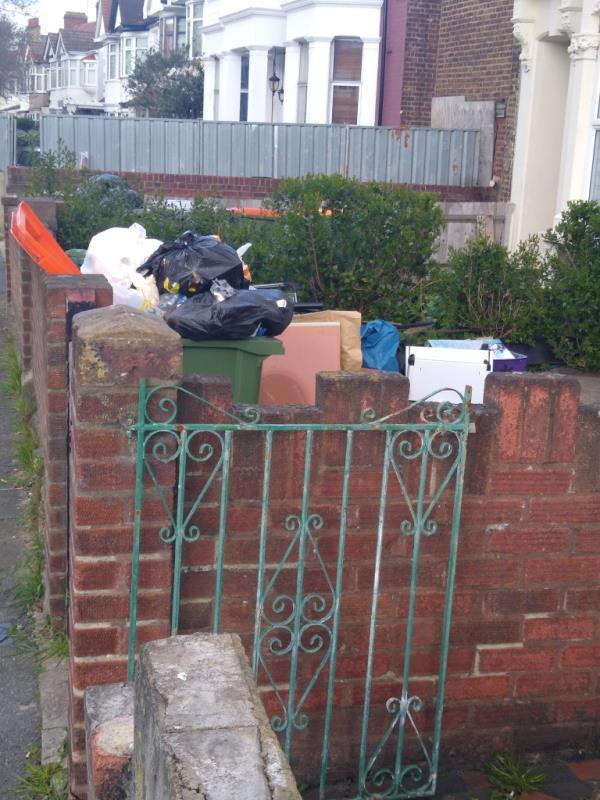 Dear Sir/Madam  This is the house 7 Margery Park Road E7 9LA front garden.   The front garden is always messy. The bins are always full of rubbishes without covering and sometimes rubbishes are over the floor, as a result attracting insects and rats come to the area.  The reason to cause the problem might be  living over crowded in the house that the bins always full of rubbishes.  I concerned about the healthy environment, bacteri and viruses breeding during this time.  kind regards-9 Margery Park Road, London, E7 9LA