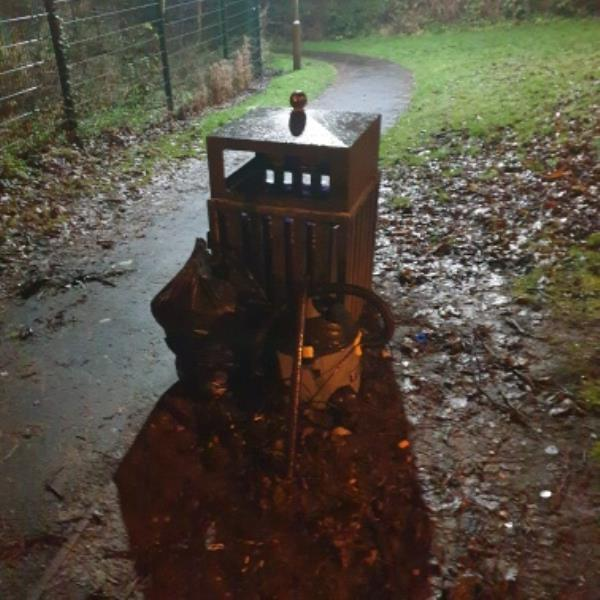 fly tipping by bin on path to Dunstall wood-46 Dunstall Avenue, Wolverhampton, WV6 0ND