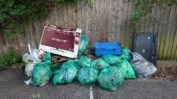 removed from site coumutiy clear up rubbish ? People adding to rubbish please clear when collected otherwise makes  more work for bottle banks ?-198 Luscinia View Napier Road, Reading, RG1 8DF