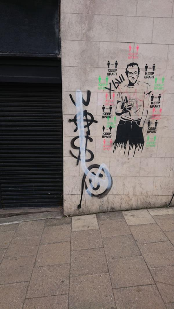Black and white spray graffiti on side wall of The Venue. 2 Clifton Rise. Thank you very much-2 Clifton Rise, New Cross SE14 6JP
