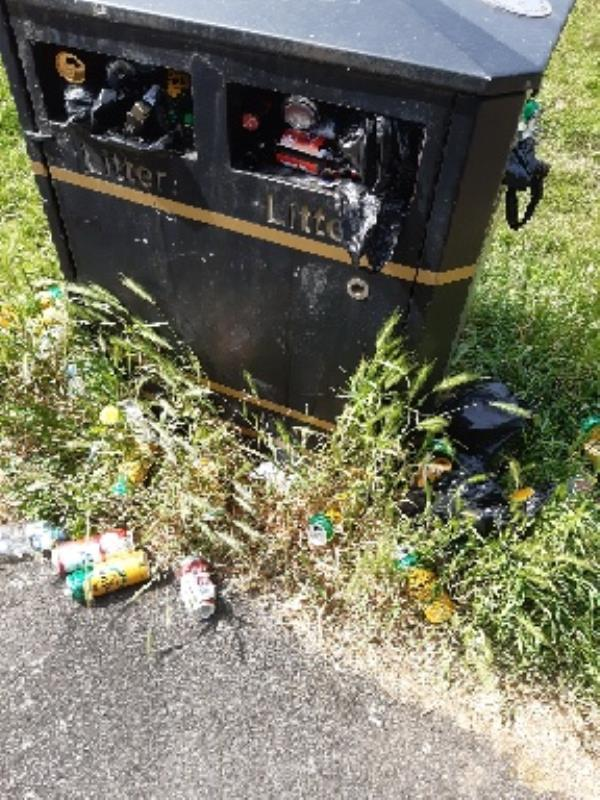over flowing bins on Cravens recreational ground-268 Victoria Road East, Leicester, LE5 0LF