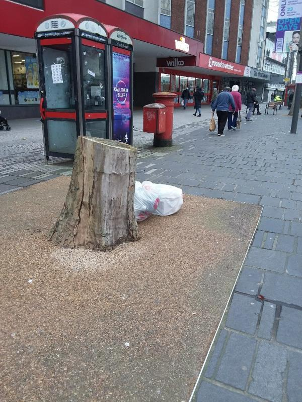 Bin Bags and Litter left at this location-St. Johns C Of E Church Broadway, London, E15 1NG