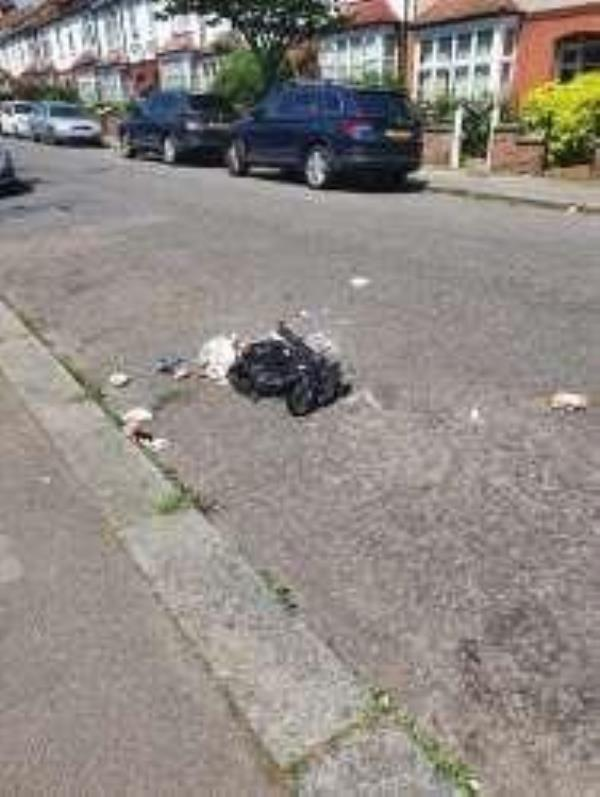 outside of Number 17 Riseldine Rd a black sack which has been split open now over flowing waste such as lumps of meat lying in the road. needs to be removed ASAP. thanks-40 Riseldine Road, London, SE23 1JU