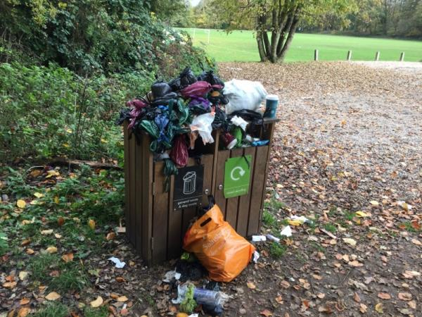 Bin over flowing Wellesley woods dukes wood parking-8 Lion Road, Farnborough, GU14 7EP