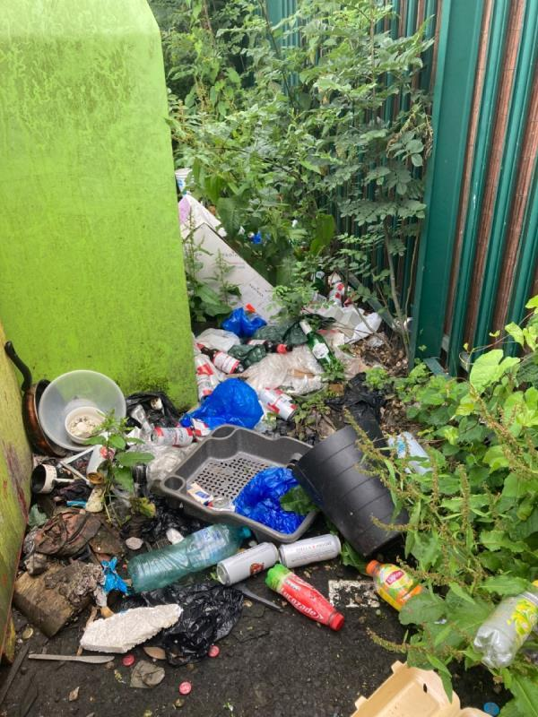 Please can the very old rubbish be cleared from behind the recycling bins. This is full if rats. -100 George Street, Reading, RG4 8DH