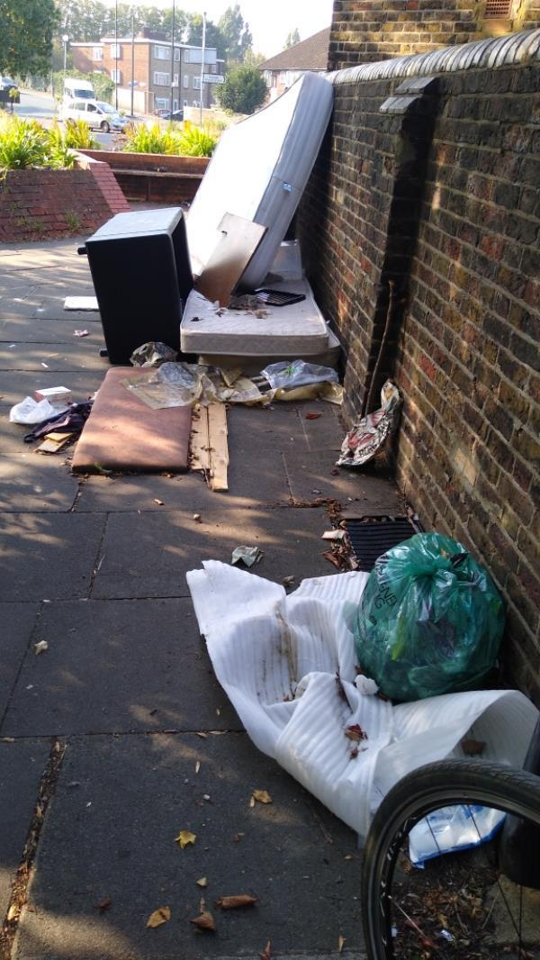 flytipping on public footpath-123 Norwood Rd, Southall UB2 4DY, UK