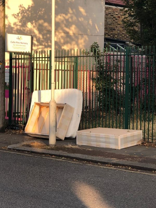 Mattress dumped on pavement in Maryland Square -56a Maryland Park, London, E15 1HB