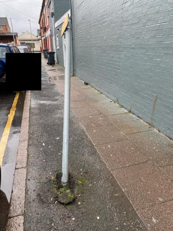 Someone has knocked down the parking pillar and is a massive danger to the public using footpath-389 St Saviours Rd, Leicester LE5 4HH, UK
