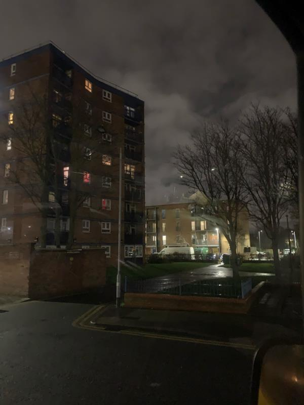 Rear st lights of Susan Lawrence house, not working. 26/01/20-Susan Lawrence House Walton Road, London, E12 5RH