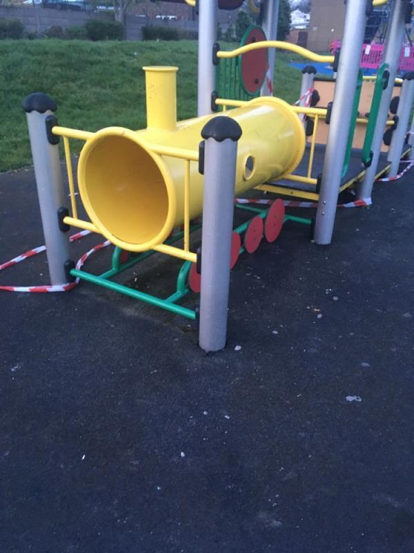Tape removed from children's train and adult exercise bars still in use. Third time reporting. Can't they be chained like they are in Forest Lane Park/ Star Lane Park. Parks a total state at the moment has flytip and overflowing bins-55 Odessa Road, London, E7 9BQ