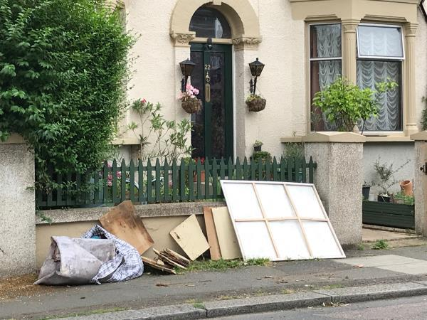 Wood etc outside 22 Honley Road -17 Honley Road, London, SE6 2HY