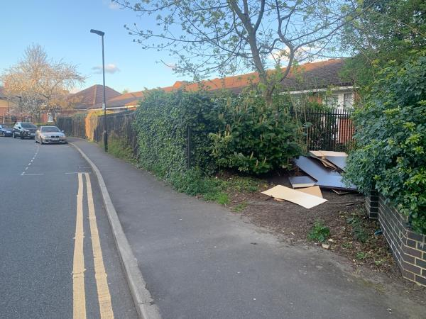 Fly tipped wooden boards -1 Northumberland Road, London, E6 5RN