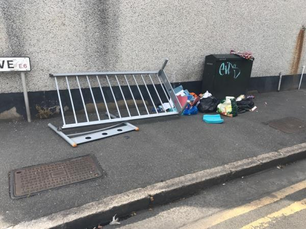 Rubbish in the street-101 Basil Ave, London E6 3HR, UK