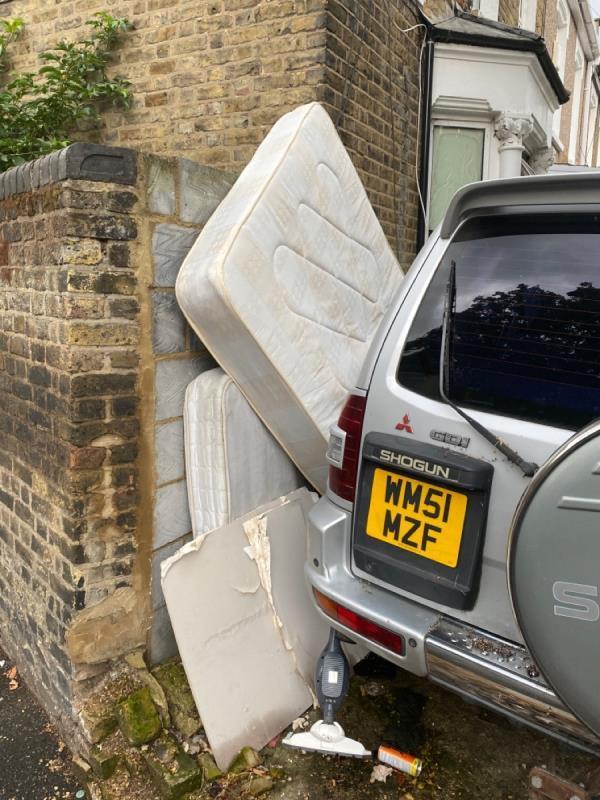 Dumped mattresses fire hazard ! -766-778 Barking Road, Plaistow, E13 9ER