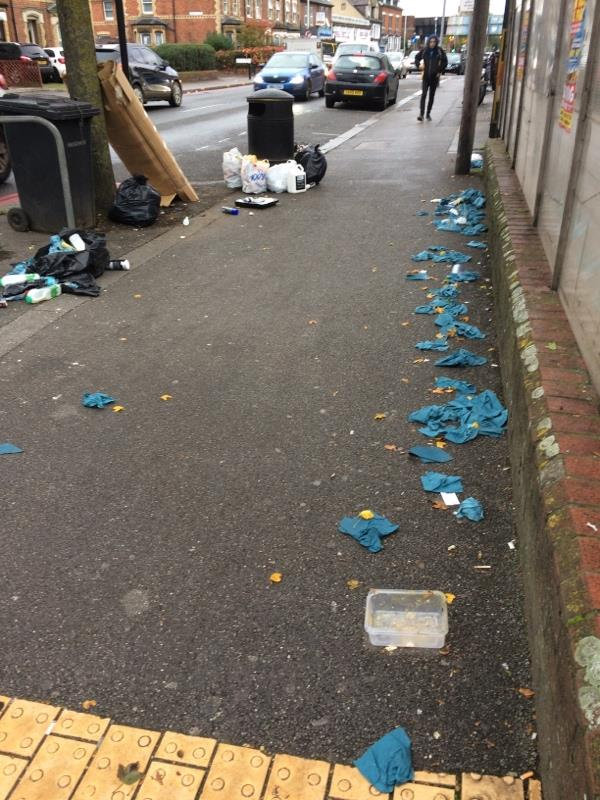Rubbish strewn on pavement. Open bags of (carrier)bags of rubbish dumped. Paints and other chemicals dumped -2 Lorne Street, Reading, RG1 7PX