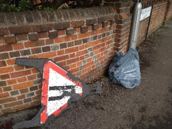 Broken road sign dumped on pathway no evidence /taken -52 Redlands Road, Reading, RG1 5HT