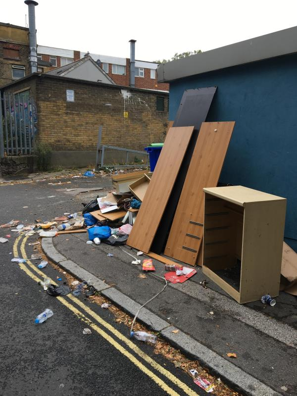 Terrible fly tipping and rubbish on road blocking pavement, including bins. Ongoing problem. -2 Lucas St, Saint John's, London SE8 4QH, UK