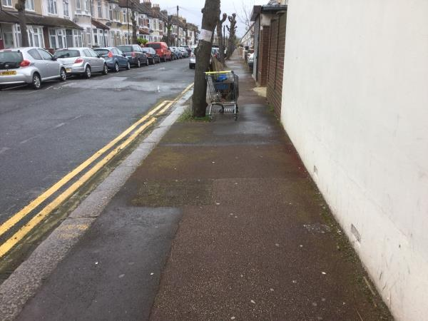Opposite 144 meanley rd abandoned trolley full of waste-144 Meanley Road, London, E12 6AT