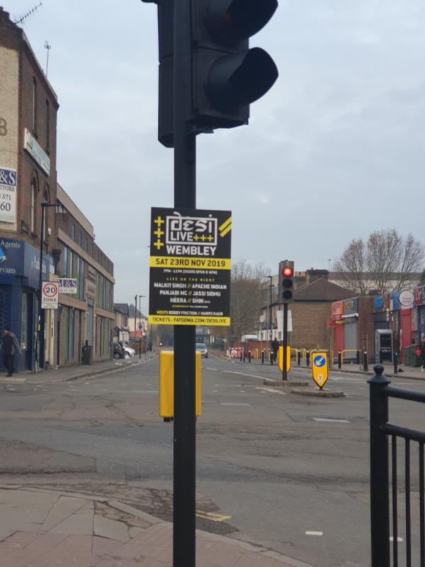 posters on all 4 approaches to junction-110 A3005, Southall UB1, UK