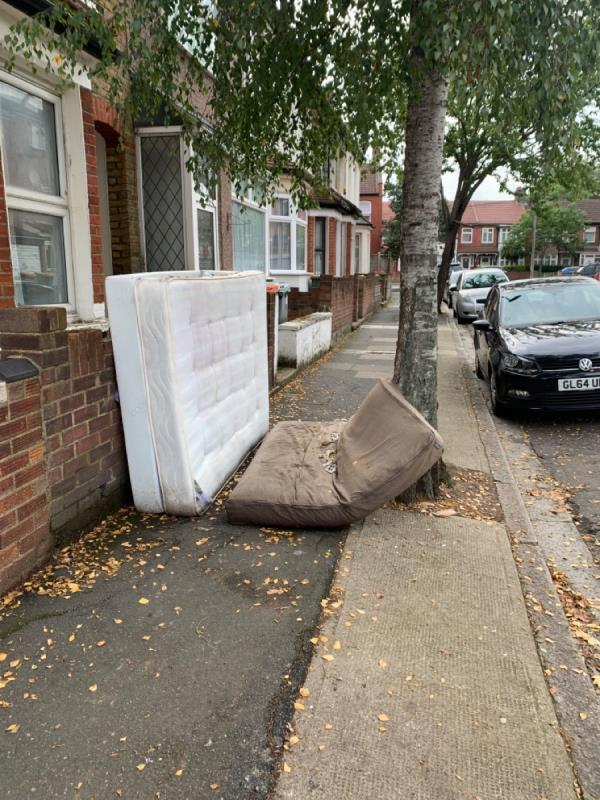 Mattresses obstructing the pavement. Been reported 3 times now and still here after more than 5 days.-10 Langdon Rd, London E6 2PZ, UK