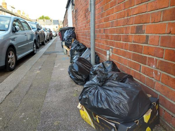 Not enough bins for residents, rubbish on pavement-253a London Road, Reading, RG1 3NY