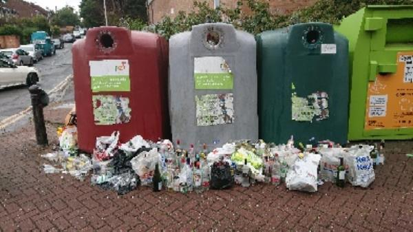Bottle banks full needs to be emptied cleared excess bottle s -Chancery Gate Business Centre Cradock Road, Reading, RG2 0AH