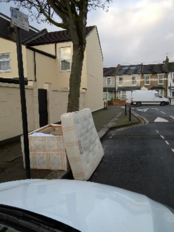 bed base and mattress on pavement-145a Stratford Road, London, E13 0JN