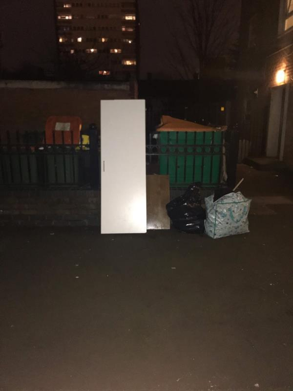Varied rubbish. This site continues to be a dumping ground from the residents of the flats adjacent to the arch at the bottom of Marcus Street. -7 Marcus Street, London, E15 3JT