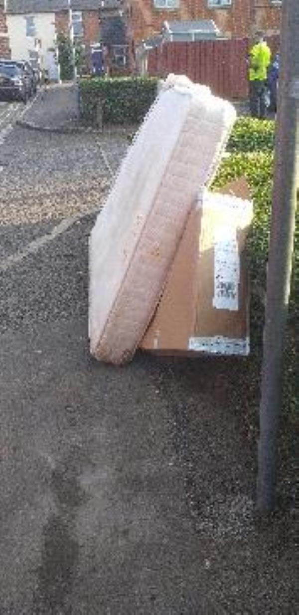 fly tipped mattress and boxes with owners address on it -3 Caroline Street, Reading, RG1 7DB