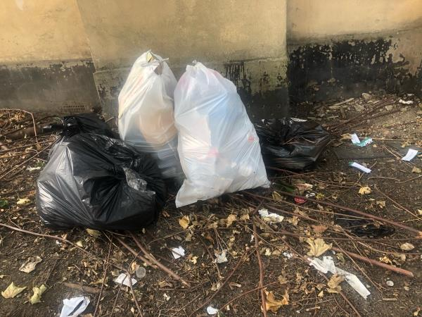 5 bags of rubbish, 3 black, 1 white, assorted litter; cans, bottles, roofing felt.-15 Aldworth Road, London, E15 4DN