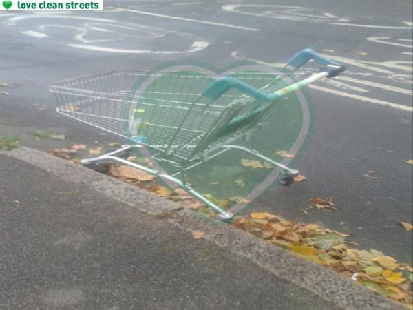 junction of Brangebourne Road- Please clear a homebass trolley-120 Old Bromley Road, Bromley, BR1 4JY